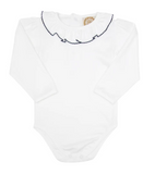 THE BEAUFORT BONNET COMPANY LONG SLEEVE RAMONA RUFFLE COLLAR SHIRT - WORTH AVENUE WHITE WITH NANTUCKET NAVY