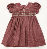 LULU BEBE ROSE CHRISTMAS FLORAL SMOCKED WAIST DRESS