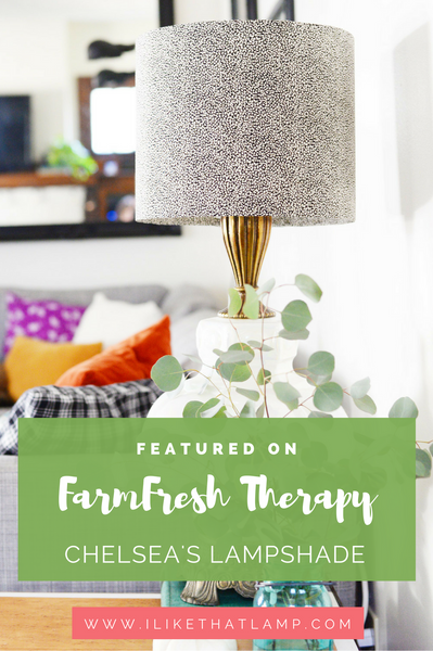 Featured On FarmFresh Therapy: Chelsea's Vintage Fabric Drum Shade Lamp