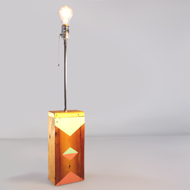 Geometric Painted Wooden Lamp Base