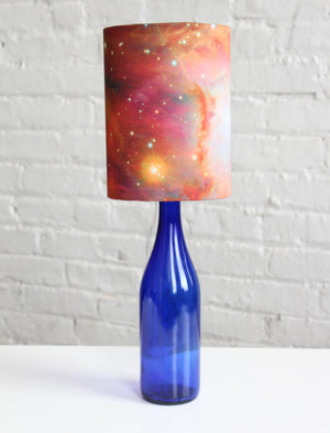 Tutorial: Bottle Lamp with Galaxy Print Shade - Read about DIY lampshade kits and projects at http://ilikethatlamp.com