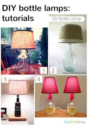 How to: DIY Bottle Lamps - Read about DIY lampshade kits and projects at http://ilikethatlamp.com