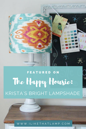 Featured On The Happy Housie: Krista's Bright Lampshade. For tips and tutorials on making lampshades, visit www.ilikethatlamp.com
