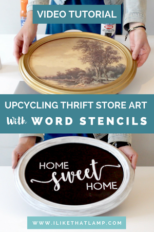 How to Use Word Stencils to Upcycle Thrift Store Art