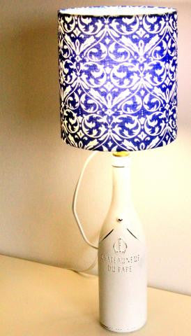 DIY Lampshade Making 101: Fleur-de-Lis Fabric Lampshade for A Wine Bottle Lamp