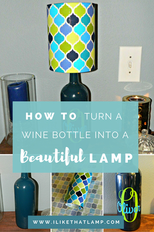 DIY Wine Bottle Lamp & Coordinating Lampshade - Read about DIY lampshade kits and projects at http://ilikethatlamp.com