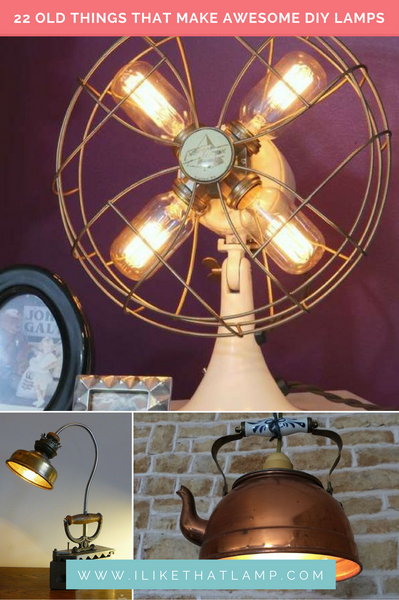 22 Old Things that Make Awesome DIY Lamps - Read more at www.ilikethatlamp.com #tutorials #diylamps #diy #diyhomedecor #diylamp