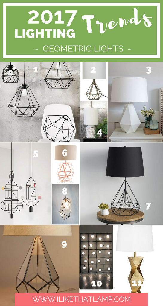 2017 Lighting Trends DIY Crafters Will Love  - Geometric Lights - www.ilikethatlamp.com
