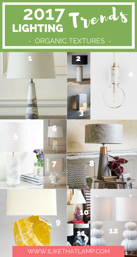 Lighting Trends for DIY Crafters in 2017 - Organic Textures - www.ilikethatlamp.com