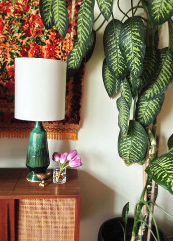 Contemporary takes on mid century lampshades i like that lamp blogger melissa from the sweet escape loves vintage lamps but struggled to find coordinating lampshade for this pair of pretty green ceramic lamps aloadofball Choice Image