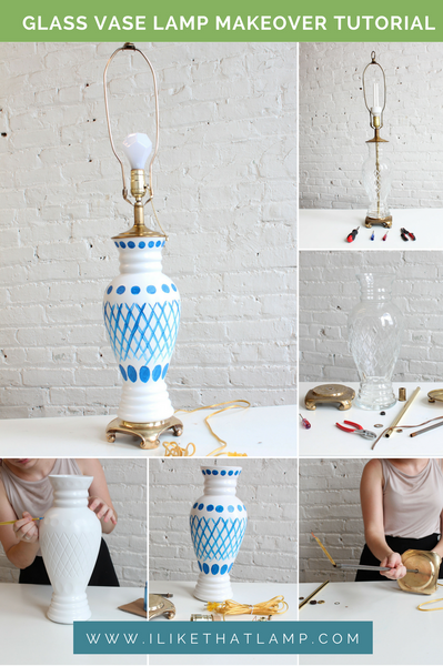From Old and Boring to New and Pretty: Glass Lamp Makeover Tutorial - Read more at www.ilikethatlamp.com