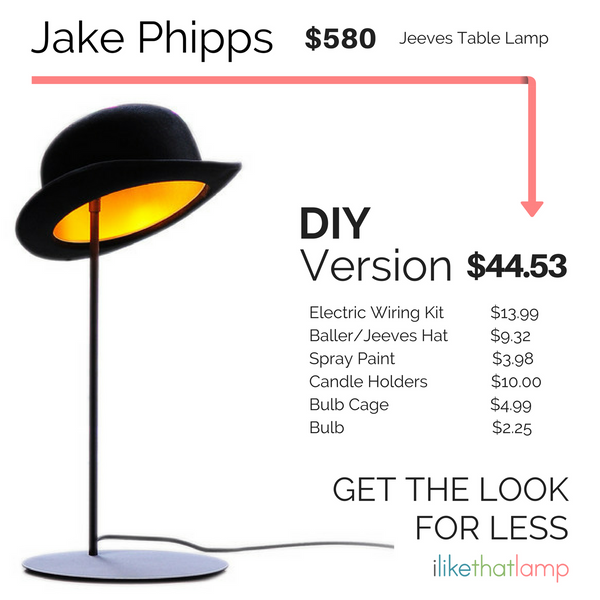 Get the Look for Less: DIY Bowler Hat Table Lamp - Read more at www.ilikethatlamp.com