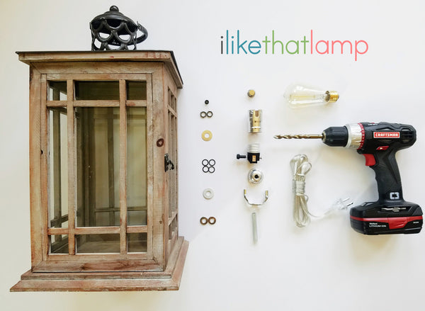 How to make a DIY bedside lamp using an old wood lantern - Full tutorial on www.ilikethatlamp.com