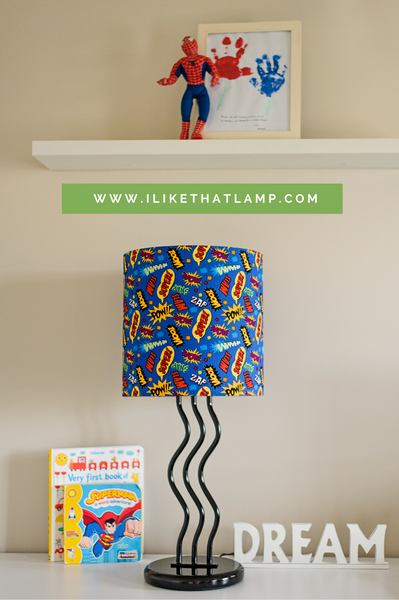 How to Make a Superhero Custom Lampshade for a Child's Room Tutorial - Shop DIY lamp crafting supplies at www.ilikethatlamp.com
