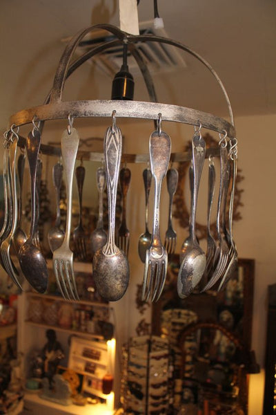 Jose Esteves Silverware Repurposed Hotel Silverware Striking Chandelier by fringe21 on Etsy