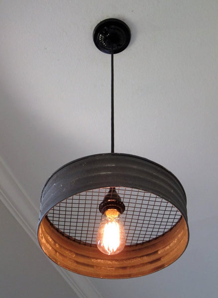 Metal Sifter Upcycled into a New Pendant Light by Out of the WoodWork Designs