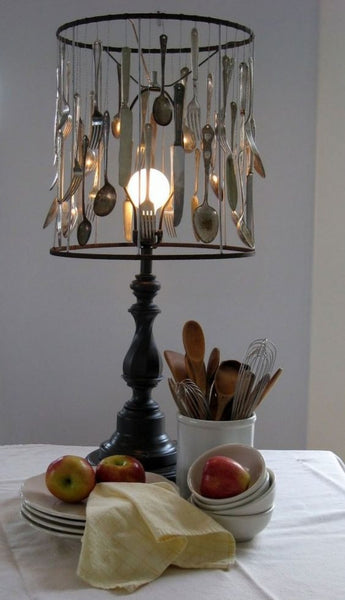 Upcycled Silverware Naked Table Lamp with Antique Wood Base via The Antiques Diva