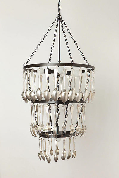 Tiered chandelier crafted crafted with chains and vintage forks and spoons. Seen at Anthropologie