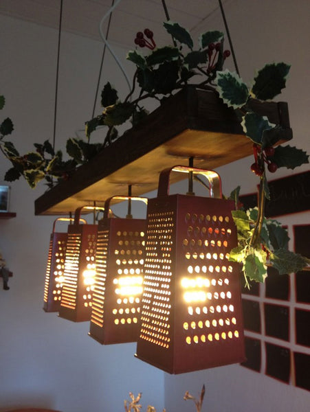 Trio Upcycled Grater Ceiling DIY Light Fixture by Recycle Art