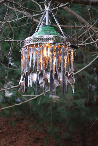 Vintage Recycled RePurposed Silverware Chandelier by MooShuBuckaroo on Etsy