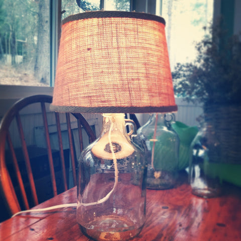Pottery Barn-inspired DIY bottle lamp by Amanda Macy HallHow to: DIY Bottle Lamps - Read about DIY lampshade kits and projects at http://ilikethatlamp.com
