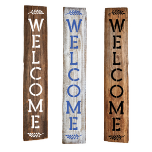 "Vertical ""Welcome"" Stencils"