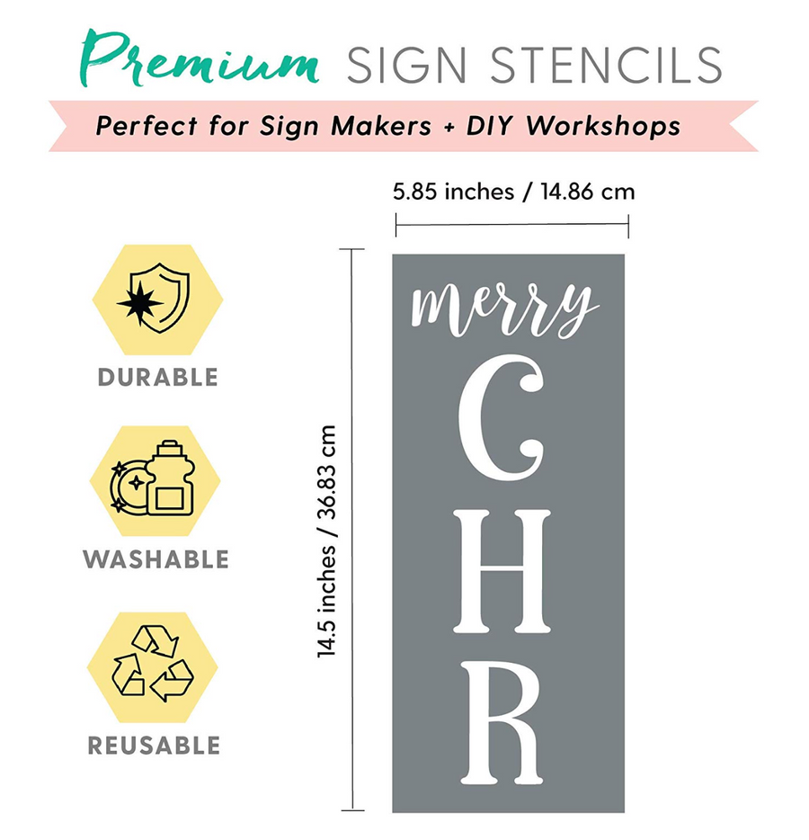 "Vertical ""Merry Christmas"" Stencils"