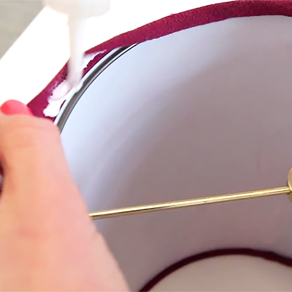 Use tacky lampshade glue to make a lampshade
