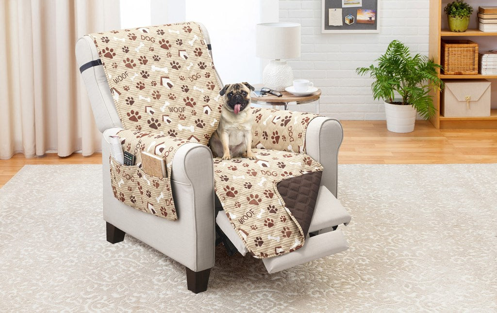 Recliner Furniture protector Woof Pet Print