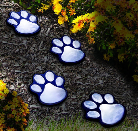 SOLAR PAW PRINT LIGHTS - BLACK - SET OF 4