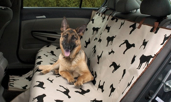 Waterproof Pet Seat Cover with Dog Print Silhouettes