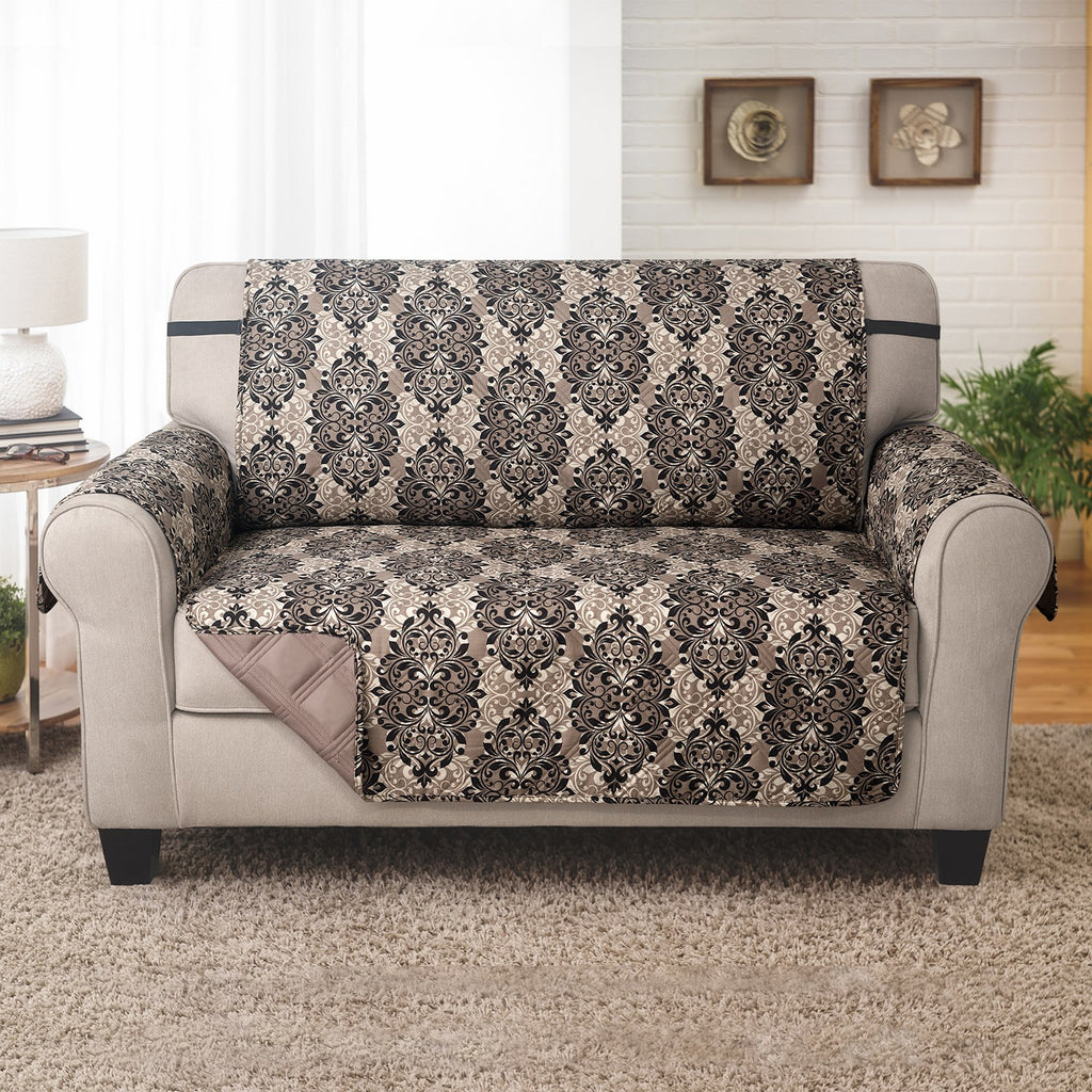 Love Seat Furniture Protector - French Damask Black/Taupe