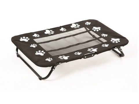 FOLDING PET COT W/ BLACK & WHITE PAW PRINT