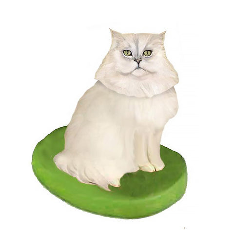 Custom Cat Bobblehead - Persian White
