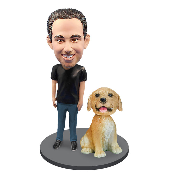 Custom Male with Custom Pet Dog Bobblehead
