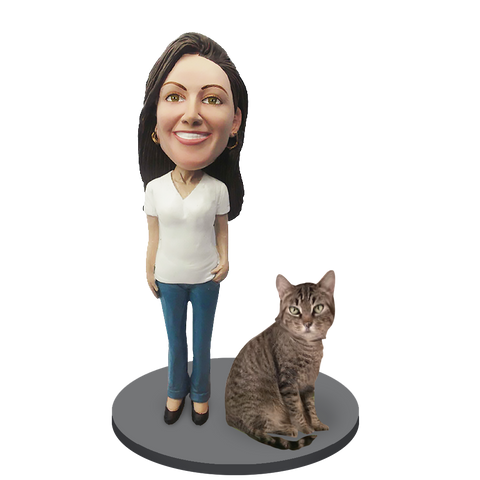 Custom Female with Custom Pet Cat Bobblehead - Shorthair Cat