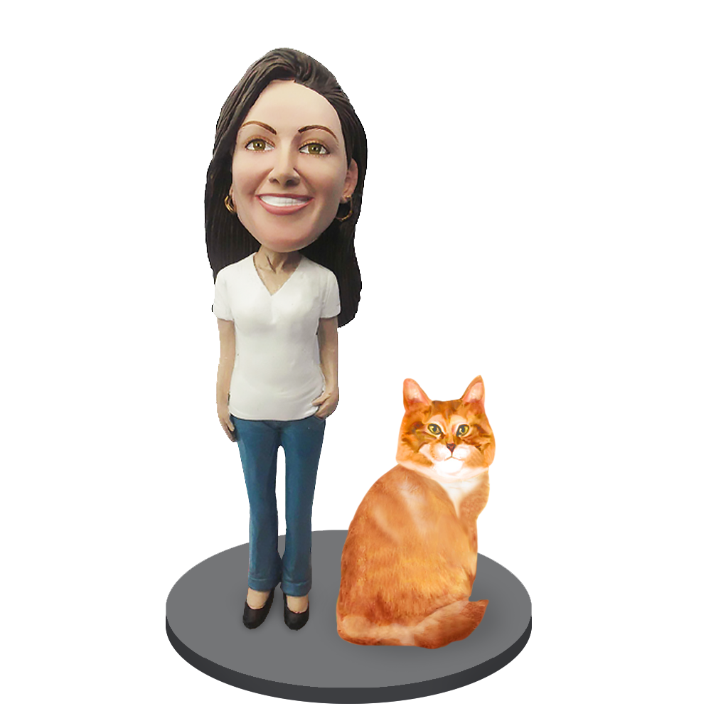 Custom Female with Custom Pet Cat Bobblehead - Orange Tabby Cat