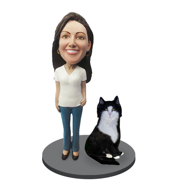 Custom Female with Custom Pet Cat Bobblehead - Tuxedo Cat