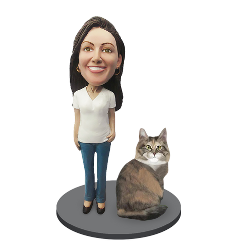 Custom Female with Custom Pet Cat Bobblehead - Maine Coon Cat