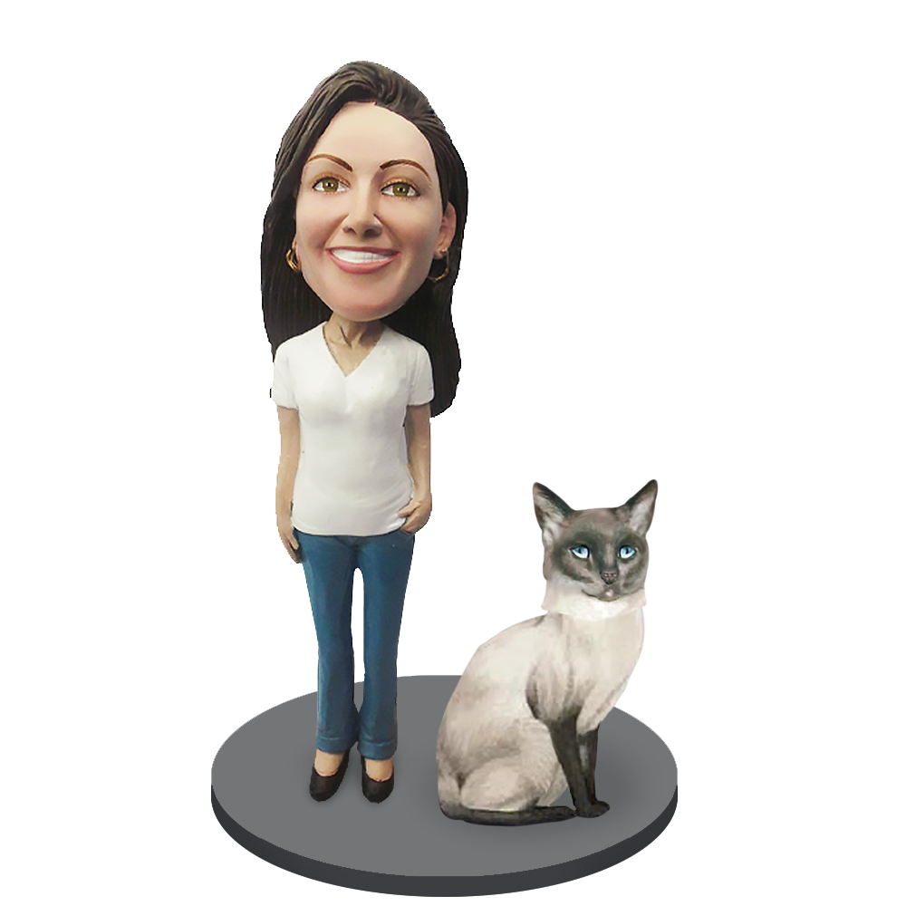 Custom Female with Custom Pet Cat Bobblehead - Siamese Cat