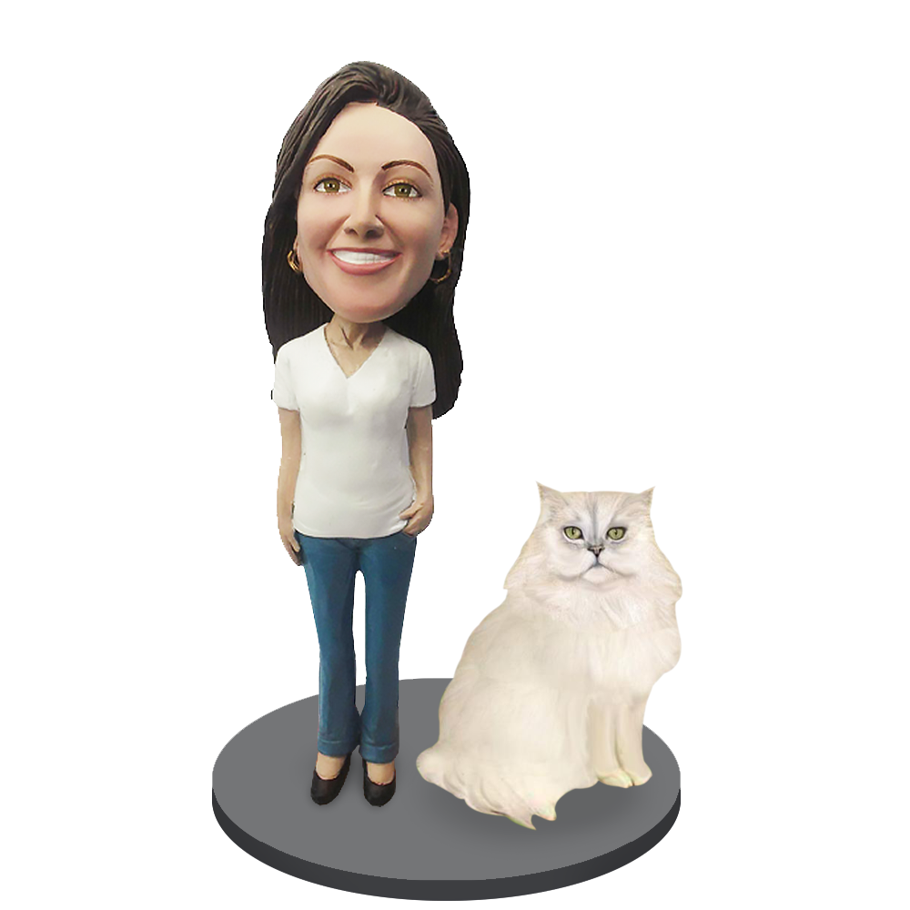 Custom Female with Custom Pet Cat Bobblehead - Persian Cat White