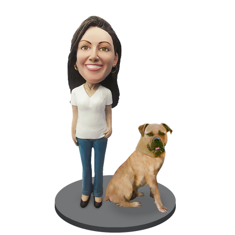 Custom female with Custom Pet Dog Bobblehead - Bull Mastiff Yellow Fawn