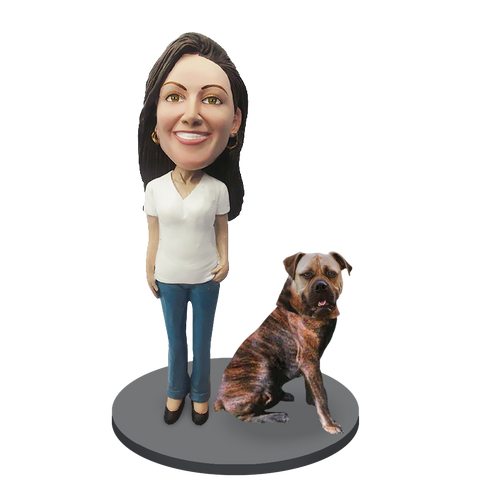 Custom female with Custom Pet Dog Bobblehead - Bull Mastiff Brindle
