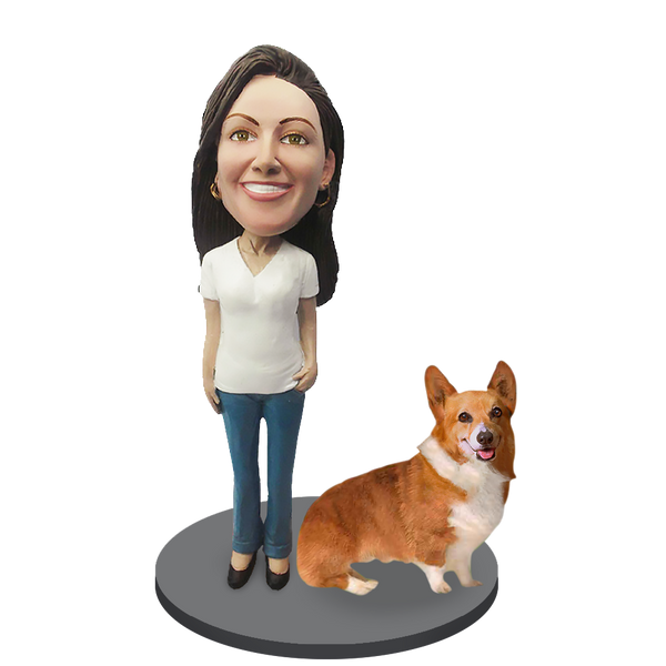 Custom female with Custom Pet Dog Bobblehead - Corgi