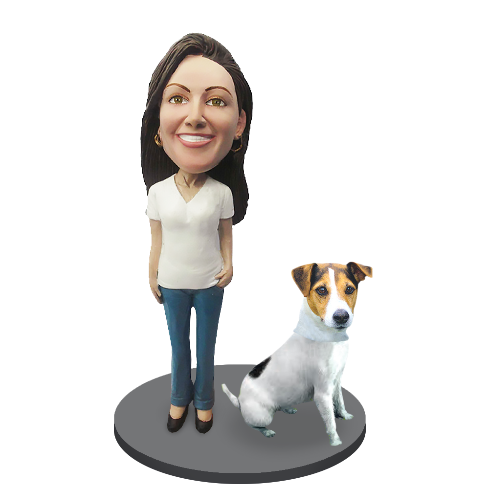 Custom female with Custom Pet Dog Bobblehead - Jack Russell Terrier