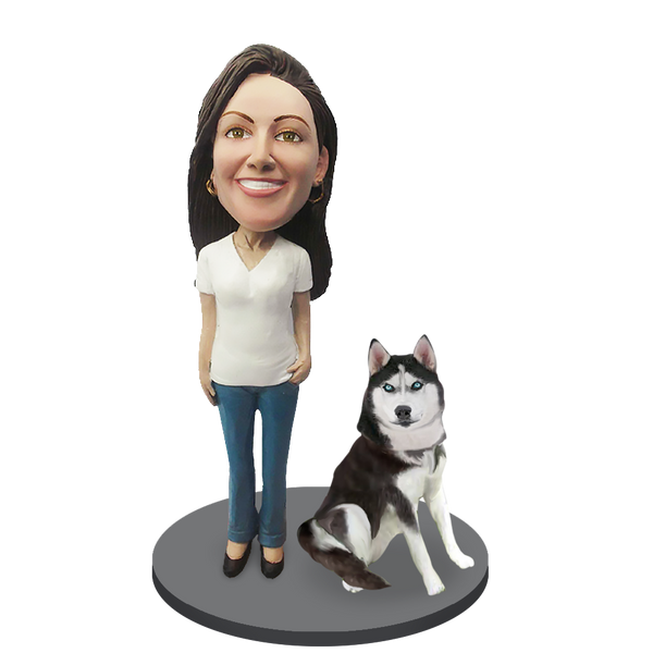 Custom female with Custom Pet Dog Bobblehead - Husky