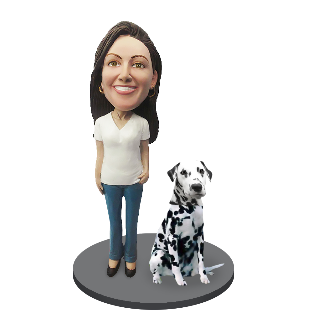 Custom female with Custom Pet Dog Bobblehead - Dalmation