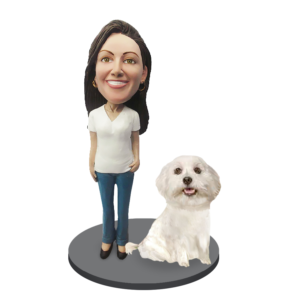 Custom female with Custom Pet Dog Bobblehead - Maltese