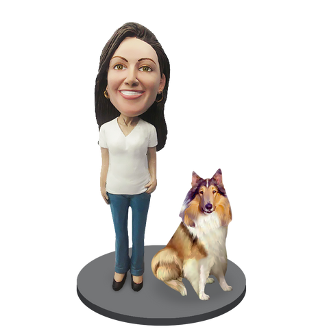 Custom female with Custom Pet Dog Bobblehead - Collie