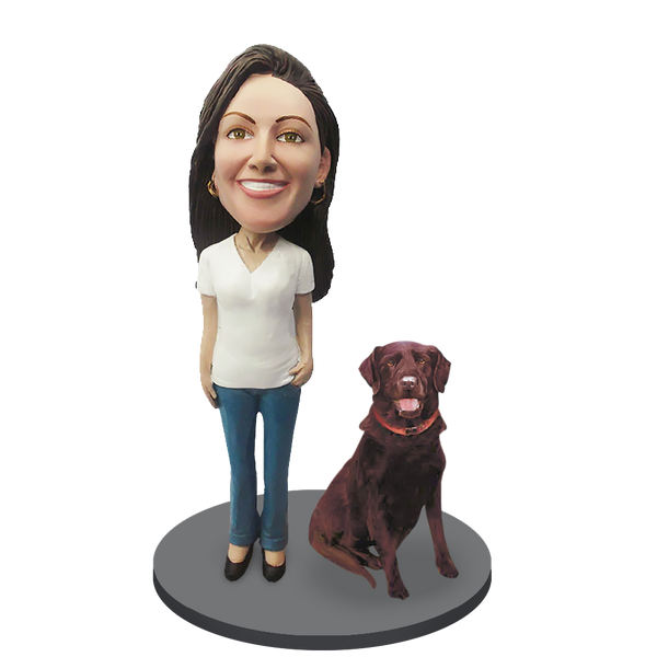 Custom female with Custom Pet Dog Bobblehead - Chocolate Labrador